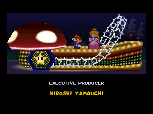 Paper Mario - Ending  - Mario and Peach at the end of the credits - User Screenshot